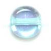 Glass Bead Flat 6mm Aqua/Aurora Borealis - Strung